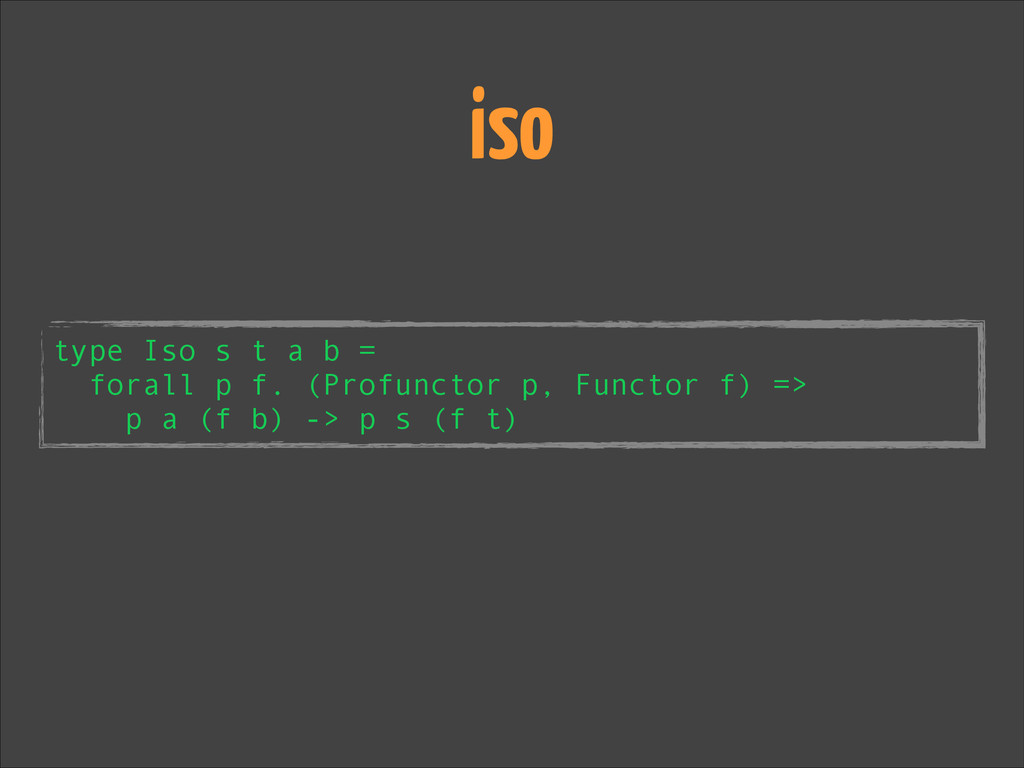 type Iso s t a b = forall p f. (Profunctor p, F...