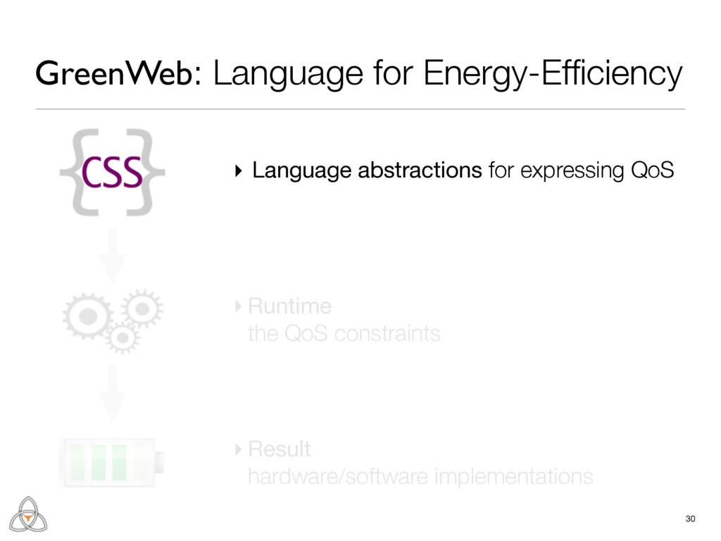 ▸ Language abstractions for expressing QoS 30 ▸...