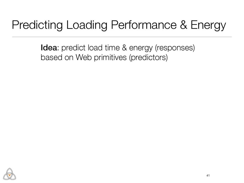 Predicting Loading Performance & Energy 41 Idea...