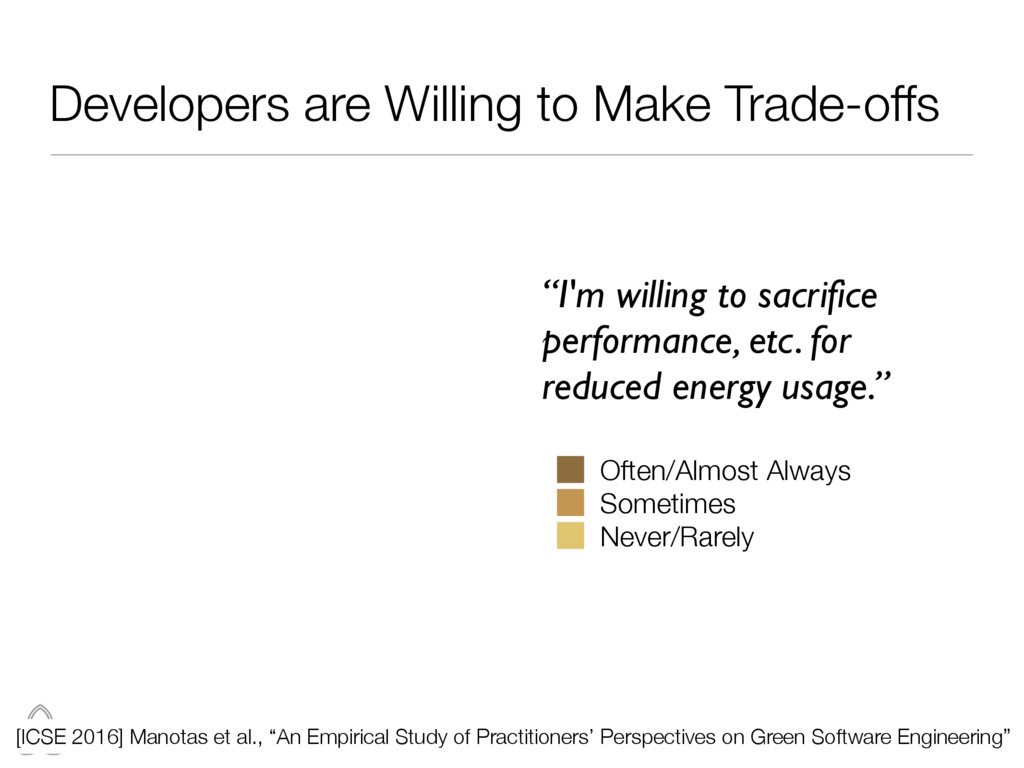 Developers are Willing to Make Trade-offs 17 Pe...