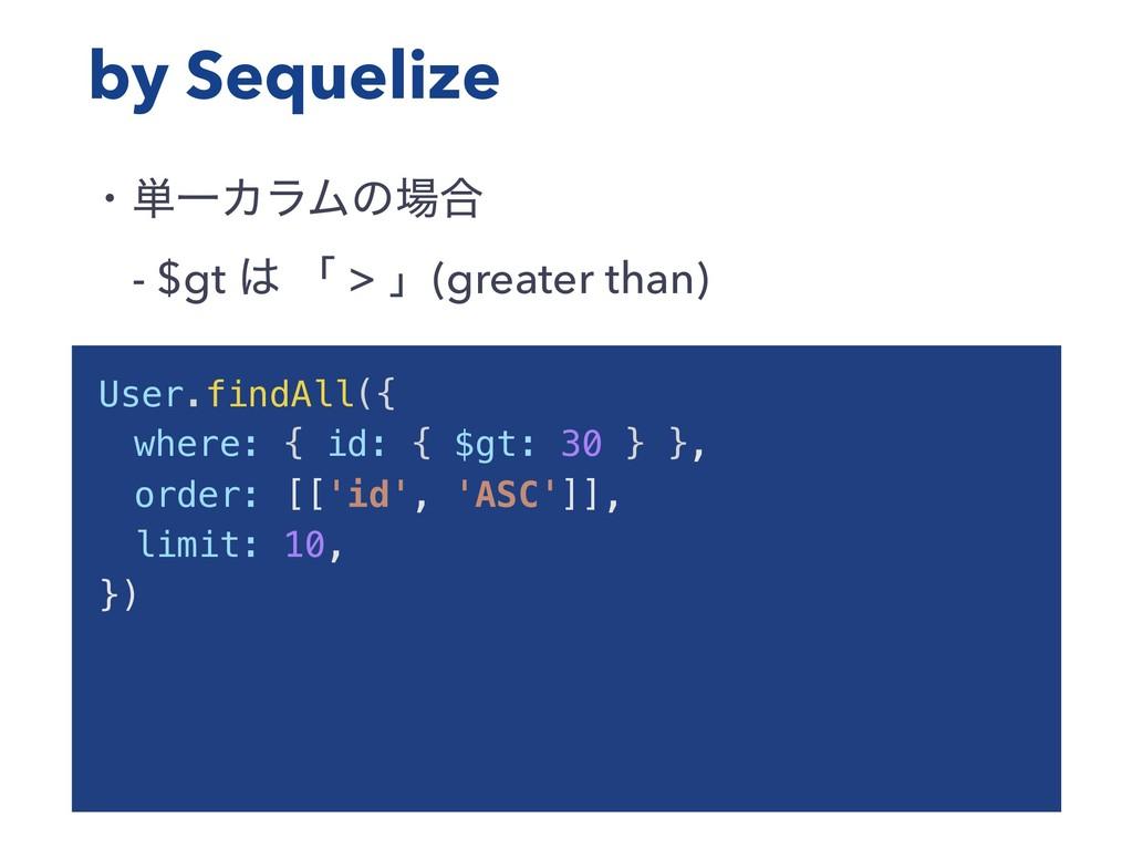 by Sequelize ɾ୯ҰΧϥϜͷ߹ ɹ- $gt  ʮ > ʯ(greater t...