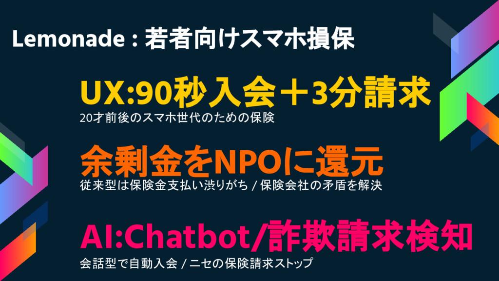 UX:90秒入会+3分請求 20才前後のスマホ世代のための保険 AI:Chatbot/詐欺請求...