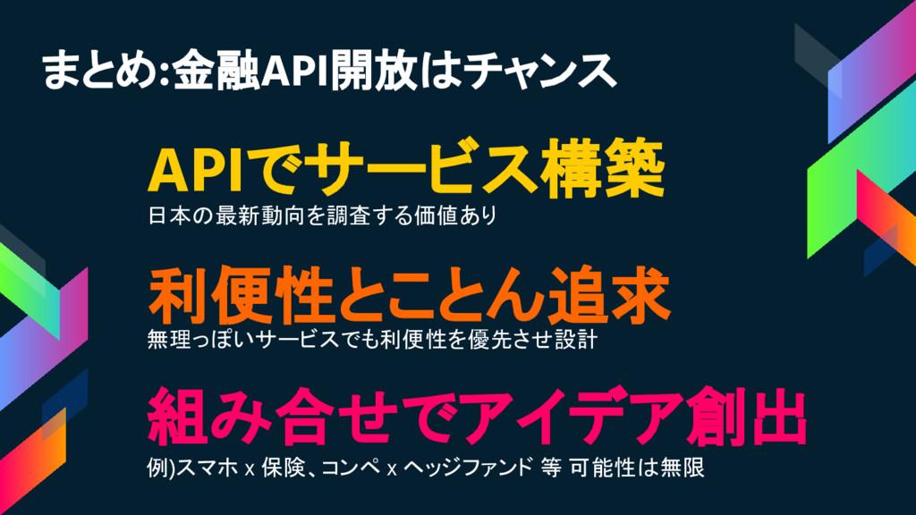 APIでサービス構築 日本の最新動向を調査する価値あり 組み合せでアイデア創出 例)スマホ x...