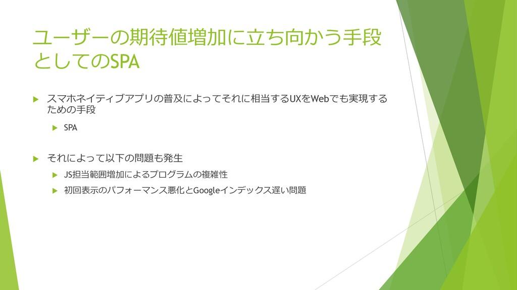 ユーザーの期待値増加に⽴ち向かう⼿段 としてのSPA u スマホネイティブアプリの普及によって...