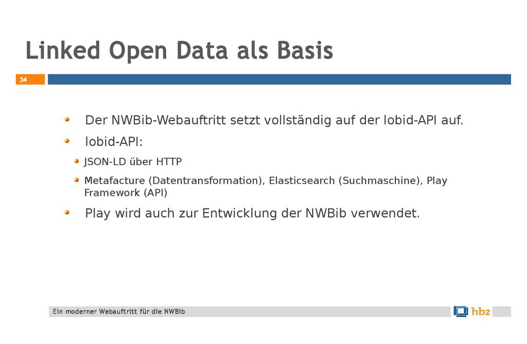Linked Open Data als Basis 34 Der NWBib-Webauft...