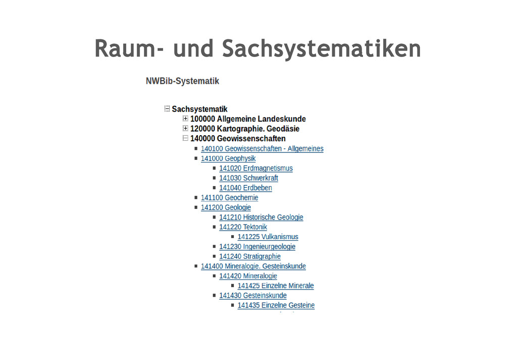 Raum- und Sachsystematiken