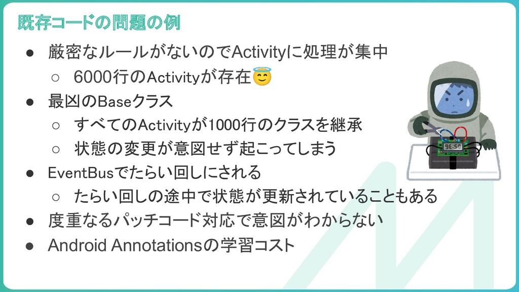 99 ● 厳密なルールがないのでActivityに処理が集中 ○ 6000行のActivity...