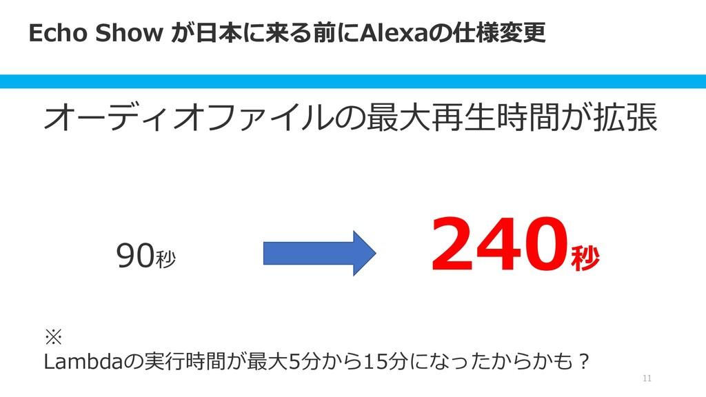Echo Show が日本に来る前にAlexaの仕様変更 11 オーディオファイルの最大再生時...