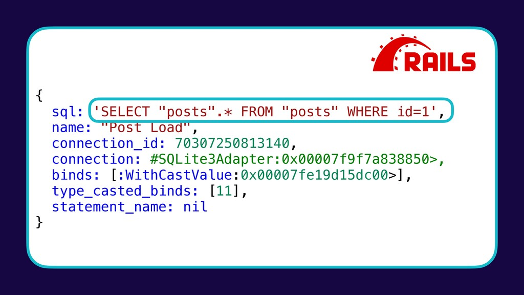 """{ sql: 'SELECT """"posts"""".* FROM """"posts"""" WHERE id=..."""