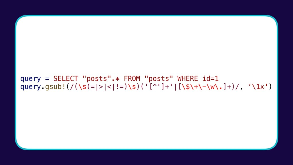 """query = SELECT """"posts"""".* FROM """"posts"""" WHERE id=..."""