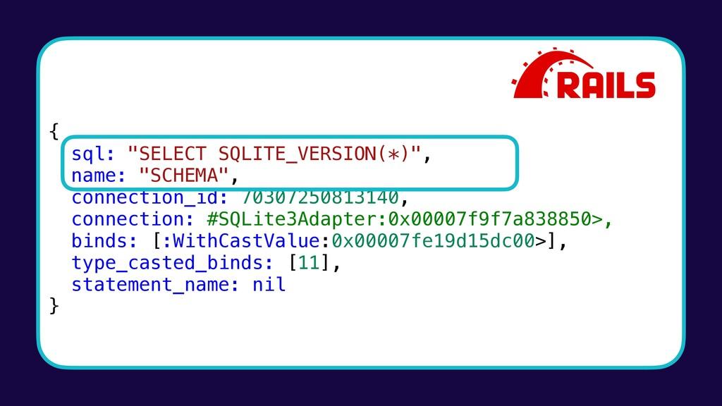 """{ sql: """"SELECT SQLITE_VERSION(*)"""", name: """"SCHEM..."""