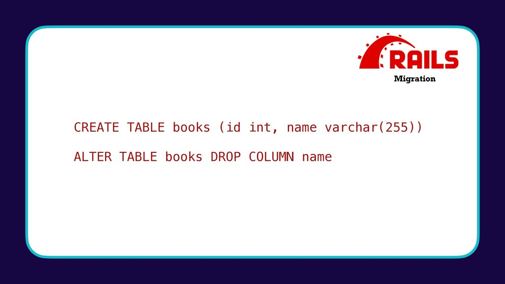 CREATE TABLE books (id int, name varchar(255)) ...