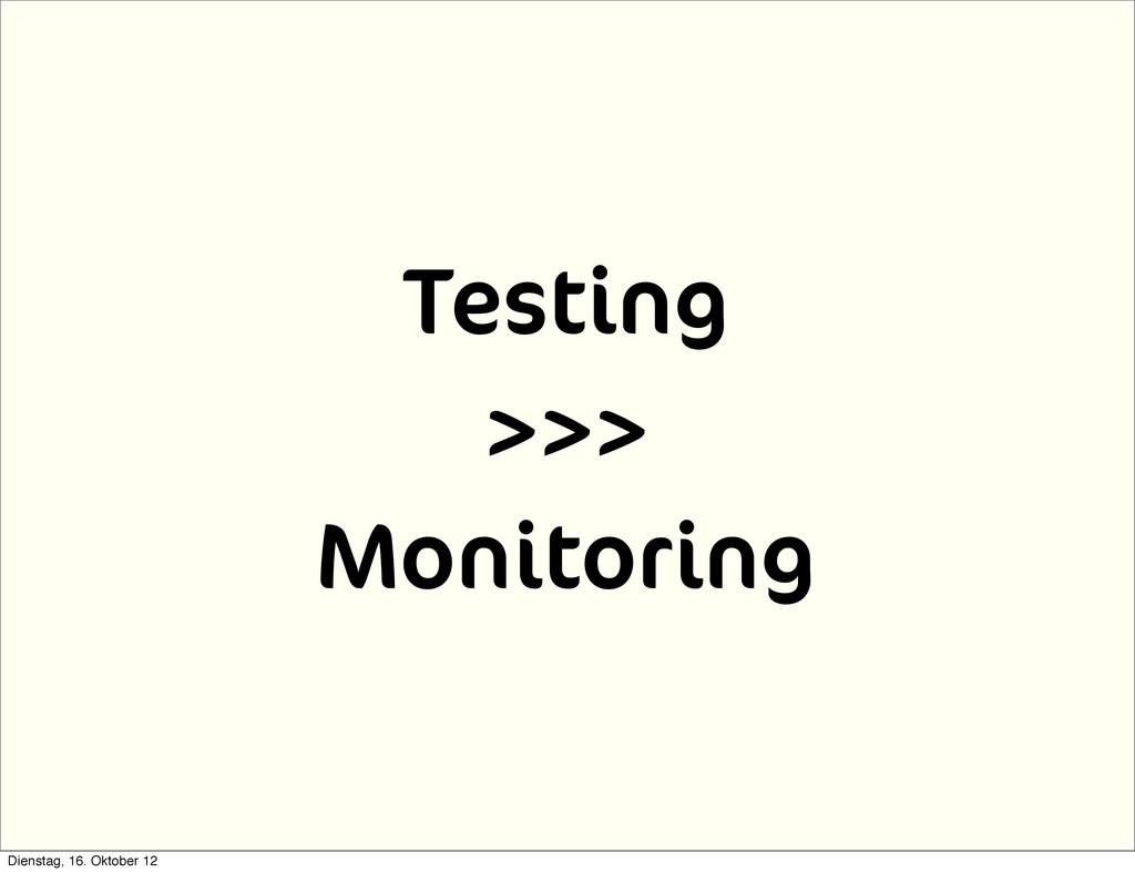 Testing >>> Monitoring Dienstag, 16. Oktober 12