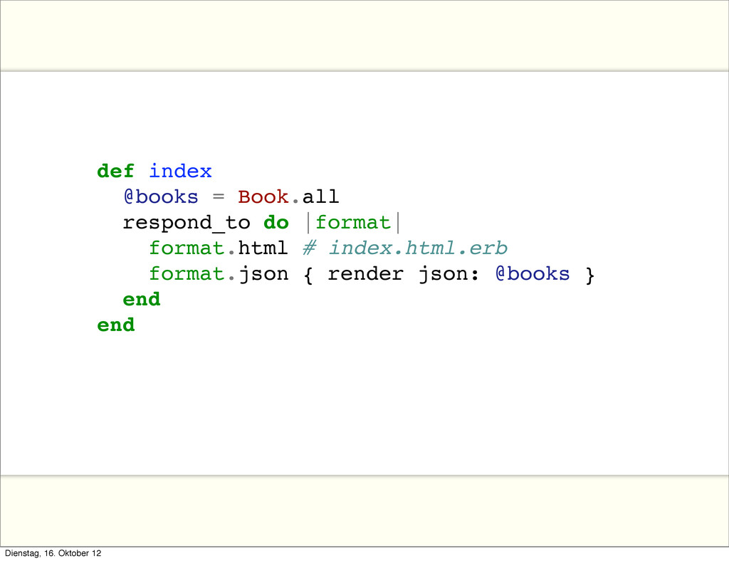 def index @books = Book.all respond_to do |form...