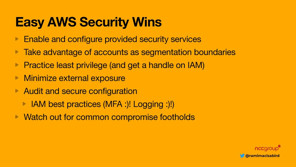 @ramimacisabird Easy AWS Security Wins Enable a...