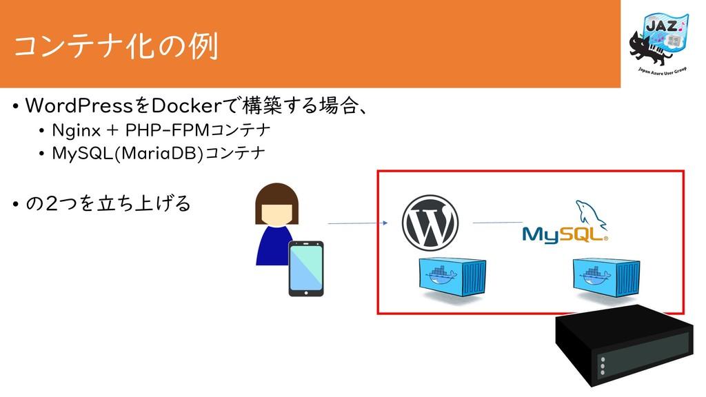 コンテナ化の例 • WordPressをDockerで構築する場合、 • Nginx + PH...