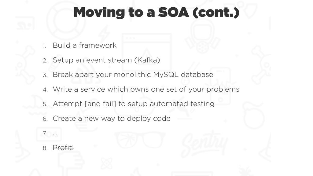 Moving to a SOA (cont.) 1. Build a framework 2....