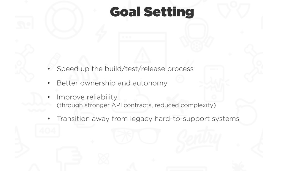 Goal Setting • Speed up the build/test/release ...