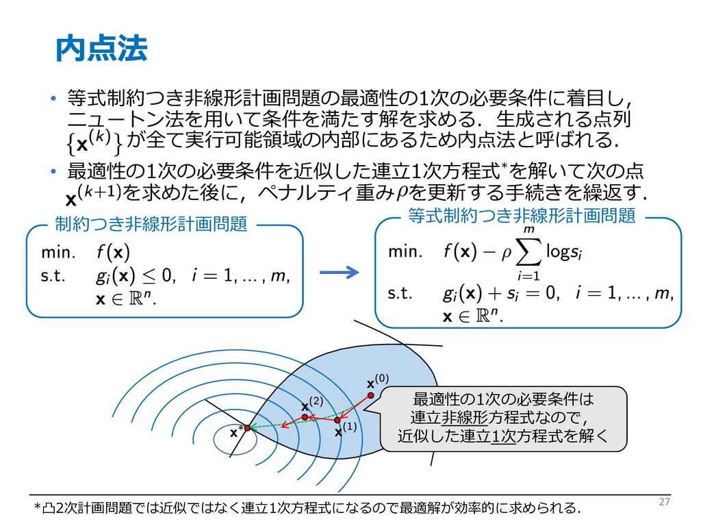 内点法 • 等式制約つき⾮線形計画問題の最適性の1次の必要条件に着⽬し, ニュートン法を⽤いて...