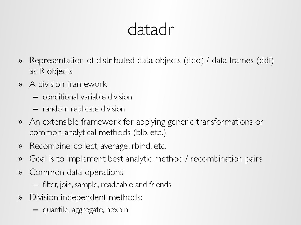 datadr »  Representation of distributed data ob...