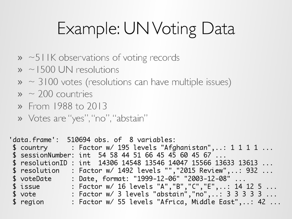Example: UN Voting Data »  ~511K observations o...
