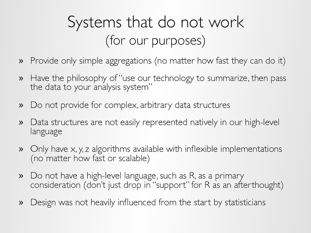 Systems that do not work