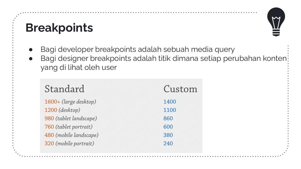 ● Bagi developer breakpoints adalah sebuah medi...