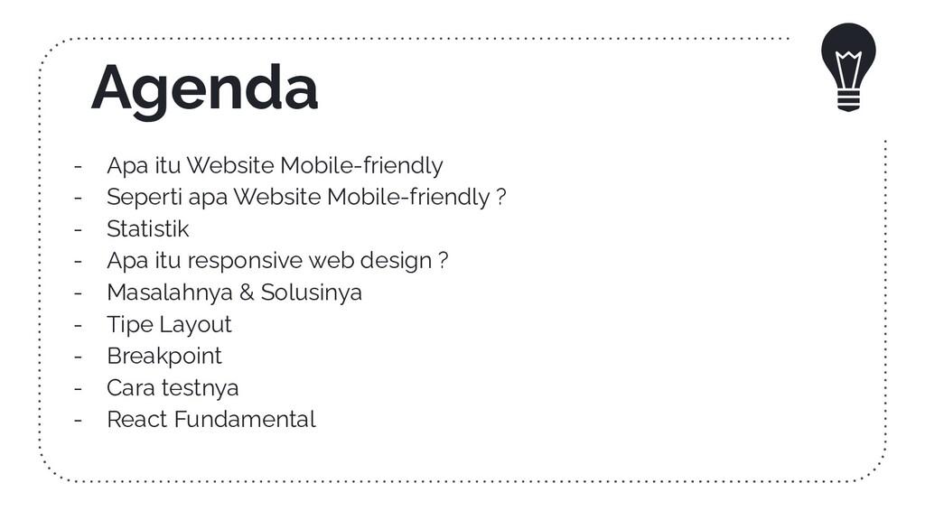 Agenda - Apa itu Website Mobile-friendly - Sepe...