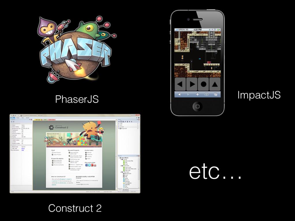 PhaserJS ImpactJS Construct 2 etc…