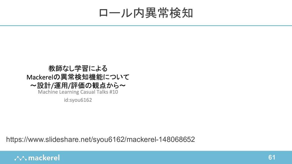 61 https://www.slideshare.net/syou6162/mackerel...