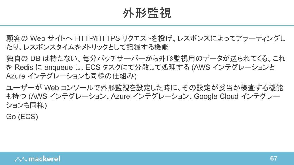 67 顧客の Web サイトへ HTTP/HTTPS リクエストを投げ、レスポンスによってアラ...