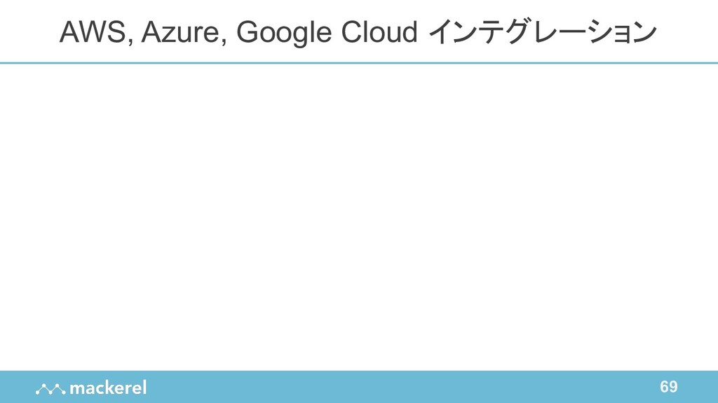 69 AWS, Azure, Google Cloud インテグレーション