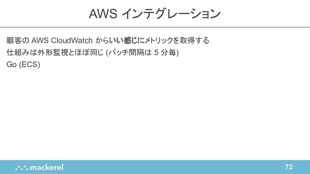 72 顧客の AWS CloudWatch からいい感じにメトリックを取得する 仕組みは外形監...