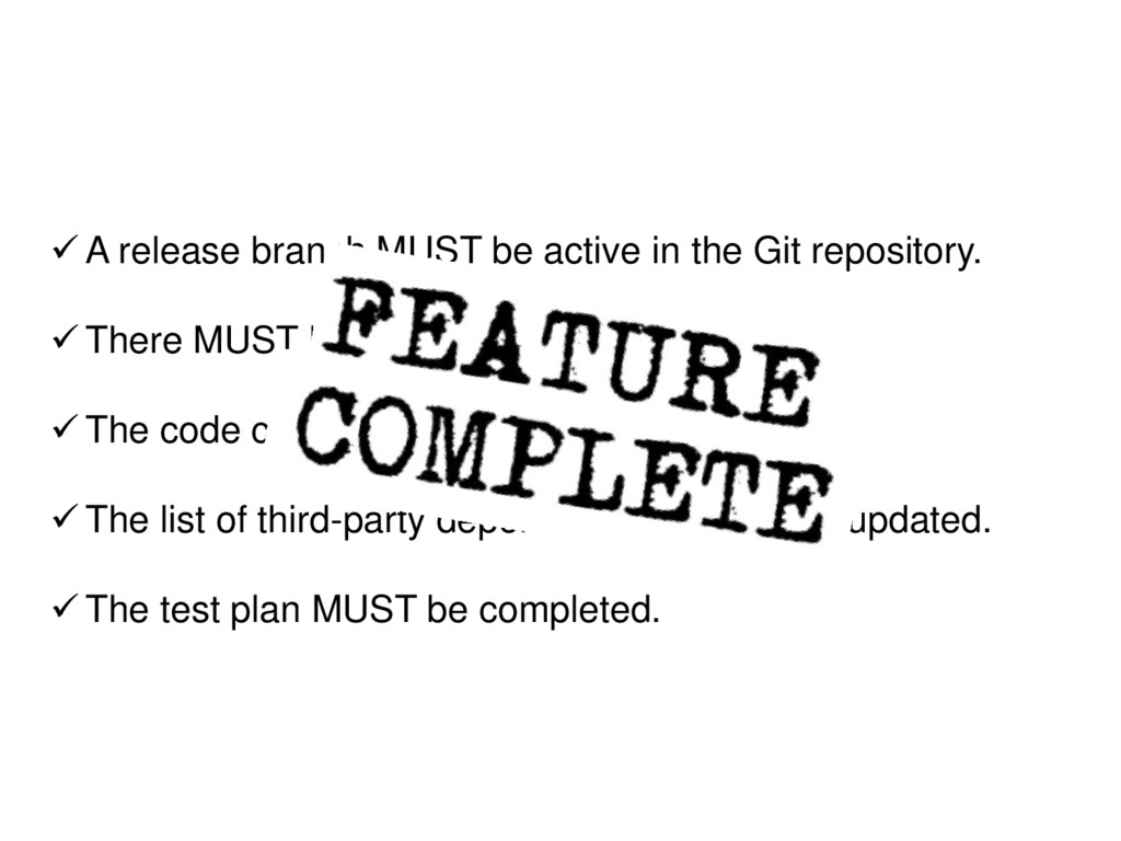 ✓ A release branch MUST be active in the Git re...
