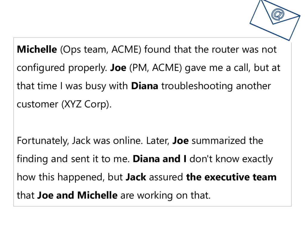 Michelle (Ops team, ACME) found that the router...