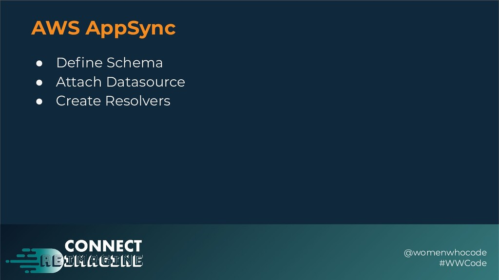 AWS AppSync ● Define Schema ● Attach Datasource ...