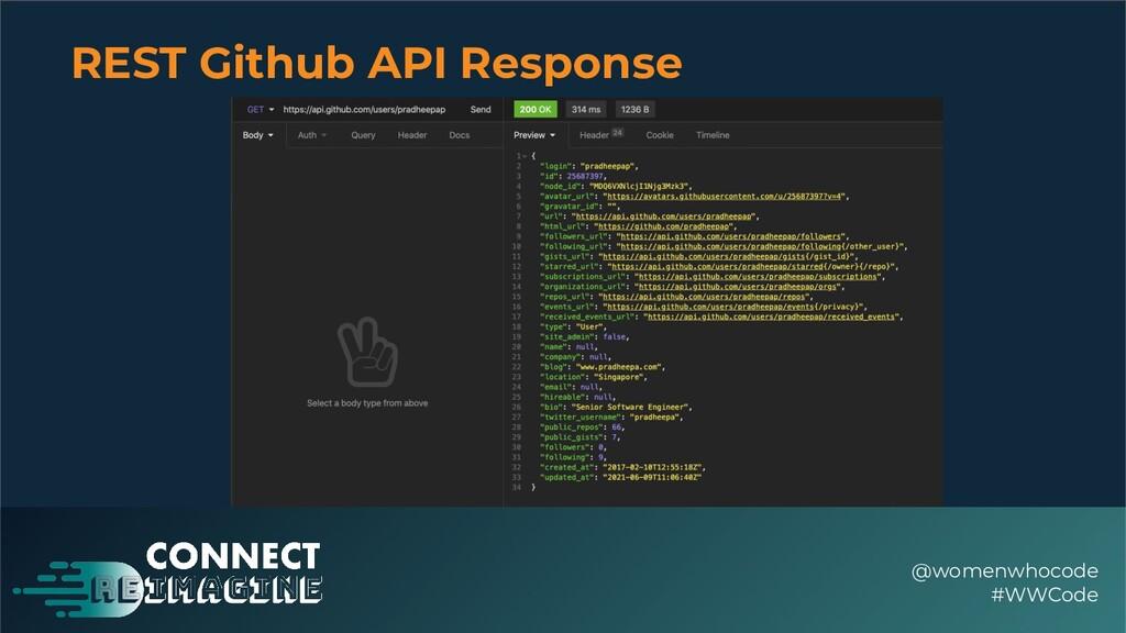 REST Github API Response @womenwhocode #WWCode