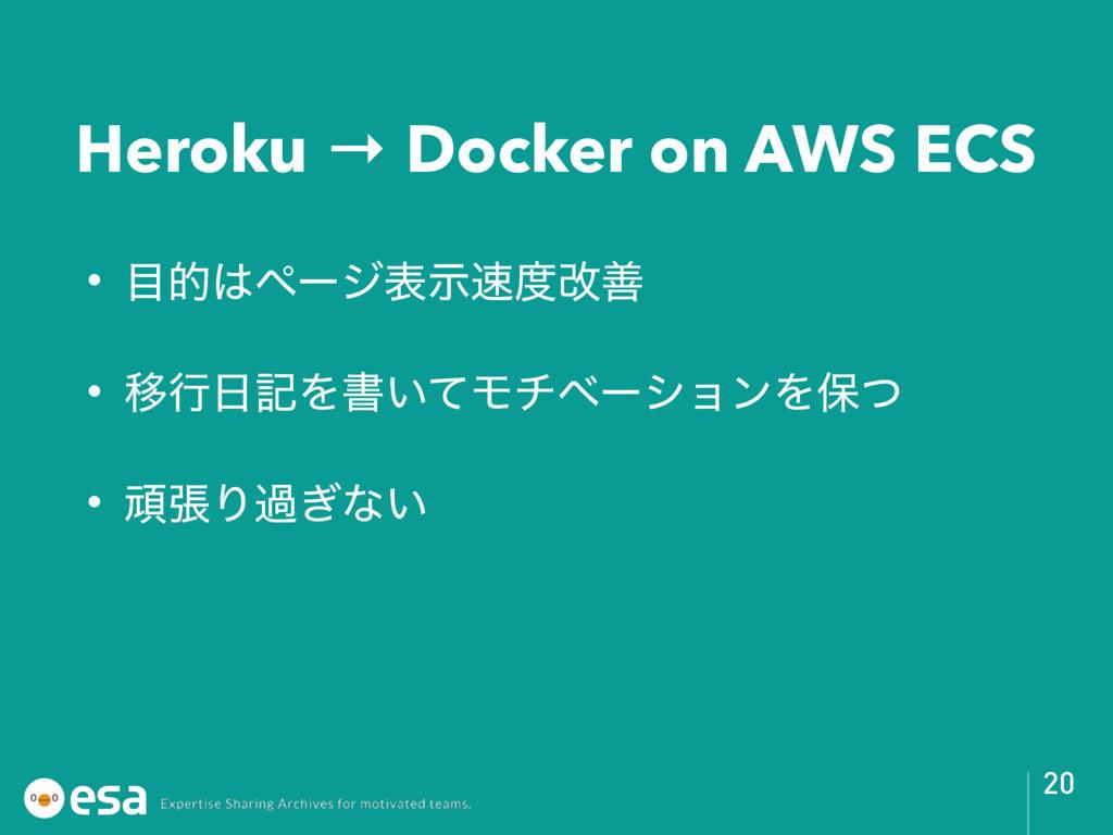 Heroku → Docker on AWS ECS • తϖʔδදࣔվળ • Ҡߦ...