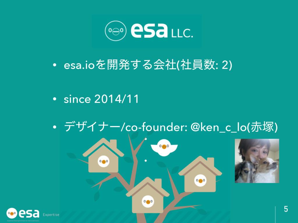 • esa.ioΛ։ൃ͢Δձࣾ(ࣾһ: 2) • since 2014/11 • σβΠφʔ...