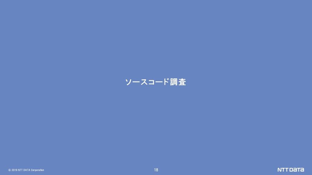 © 2019 NTT DATA Corporation 18 ソースコード調査