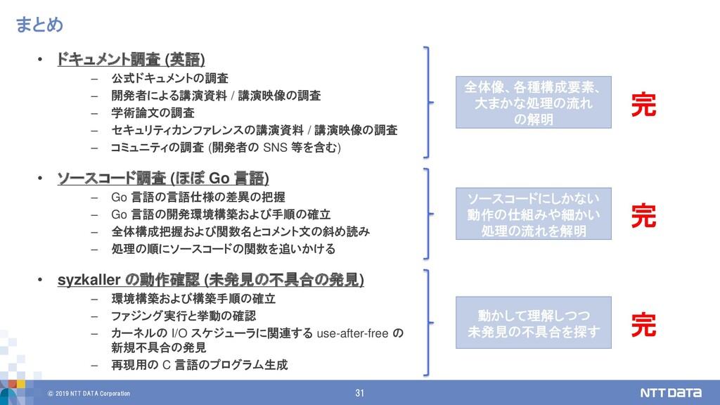 © 2019 NTT DATA Corporation 31 まとめ • ドキュメント調査 (...