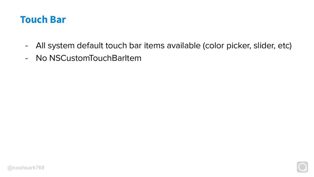 @noahsark769 Touch Bar - All system default tou...