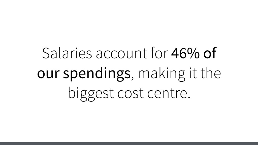 Salaries account for 46% of our spendings, maki...