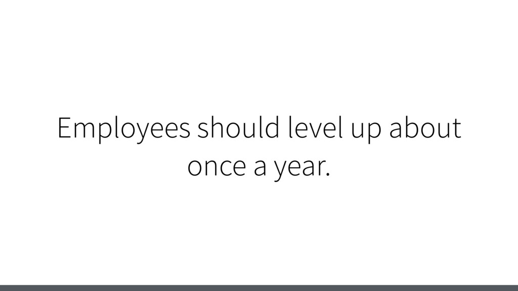 Employees should level up about once a year.