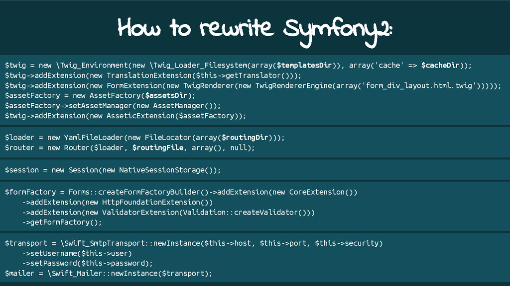 How to rewrite Symfony2: $twig = new \Twig_Envi...