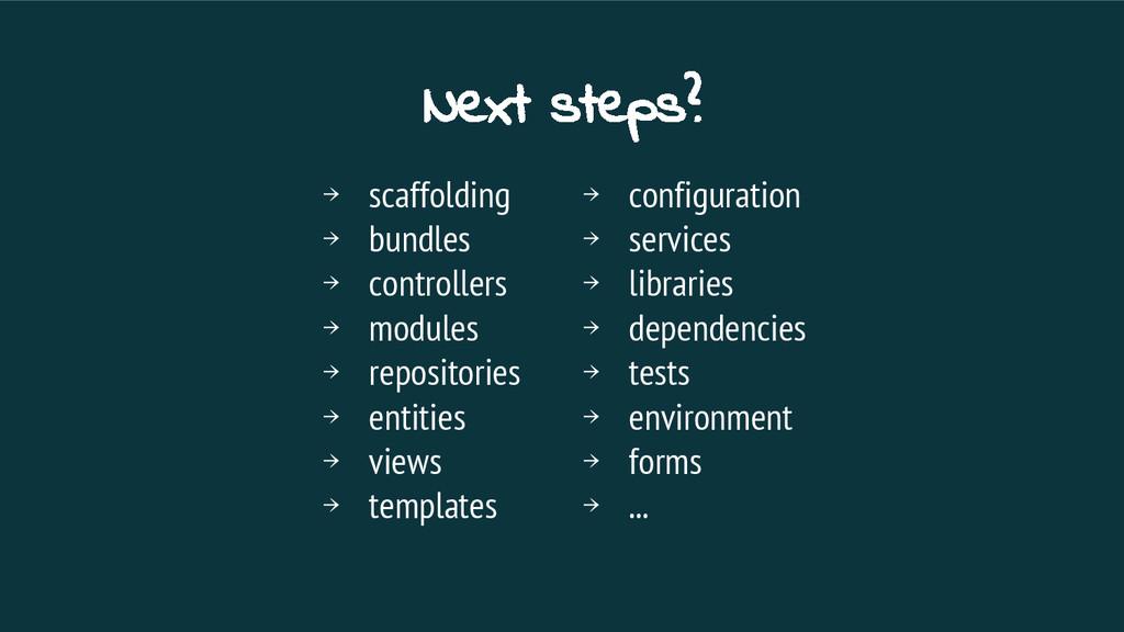 Next steps? → scaffolding → bundles → controlle...