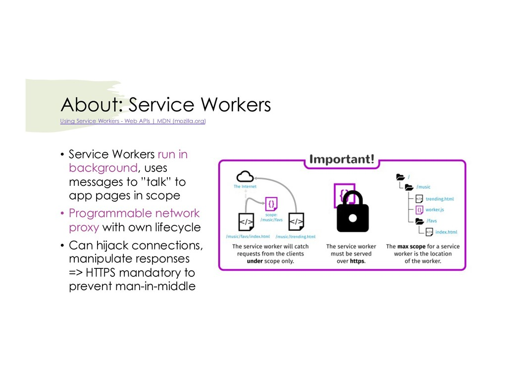 About: Service Workers • Service Workers run in...