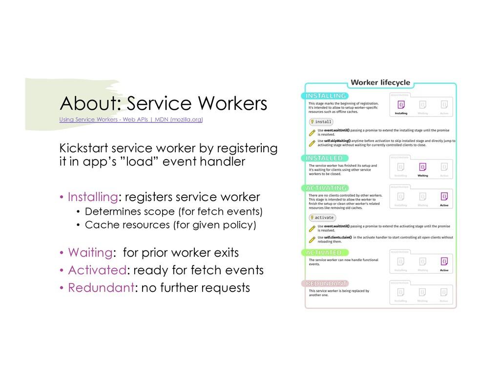 About: Service Workers Kickstart service worker...