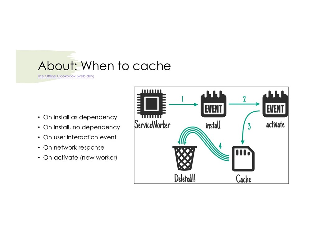 About: When to cache • On install as dependency...