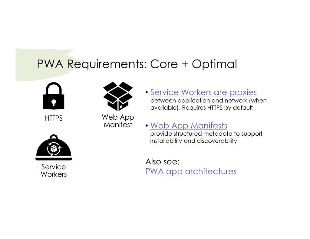 PWA Requirements: Core + Optimal Service Worker...